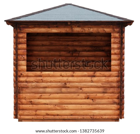 Wooden market stand stall made of natural wooden beams tree hut isolated on white #1382735639