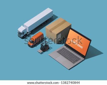 Professional express delivery, warehousing and shipment service: isometric trucks, boxes and laptop #1382740844