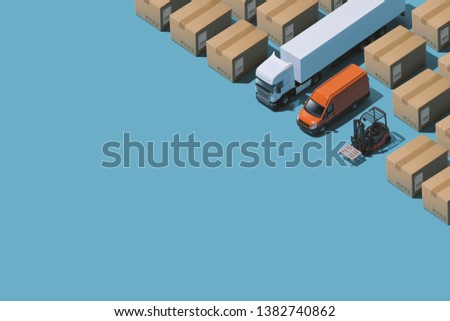 Professional express delivery, warehousing and shipment service: isometric trucks and parcels with copy space #1382740862