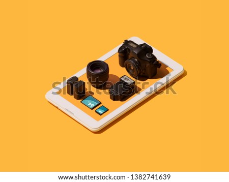 Professional photography equipment on a smartphone app: digital reflex camera, lens, flash light, memory cards and batteries #1382741639