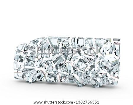 Broken glass truck symbol on a white background. 3d illustration. #1382756351