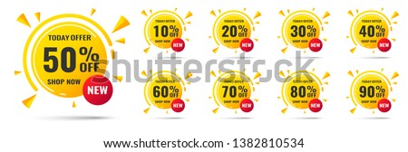 Sale tags set vector badges template with percent sale label symbols, discount promotion flat icon with long shadow, clearance sale sticker emblem red rosette #1382810534