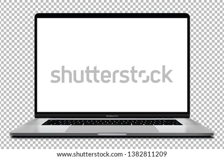 Laptop with blank screen silver color isolated on transparent background - super high detailed photorealistic esp 10 vector Royalty-Free Stock Photo #1382811209