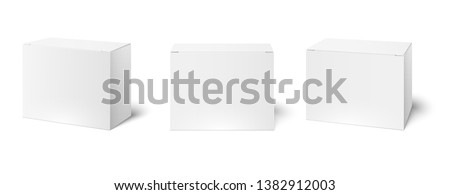 White box mockup. Blank packaging boxes, cube perspective view and cosmetics product package mockups 3d vector illustration set Royalty-Free Stock Photo #1382912003