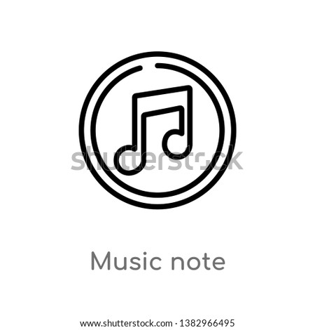 outline music note vector icon. isolated black simple line element illustration from discotheque concept. editable vector stroke music note icon on white background #1382966495
