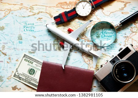 Tourism planning equipment for trip and accessories , Holidays vacations summer  concept, top view. #1382981105