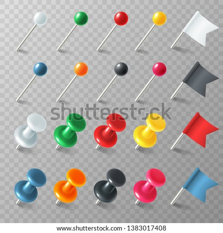 Pins flags tacks. Colored pointer eps marker pin flag tack pinned board pushpin organized announcement, color realistic vector set #1383017408