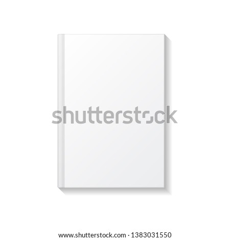 Blank white book or notebook top view mockup template. Isolated on white background with shadow. Ready to use for your design or business. Vector illustration. #1383031550