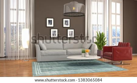 Interior of the living room. 3D illustration #1383065084