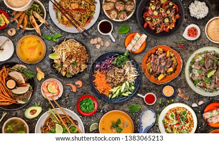 Asian food background with various ingredients on rustic stone background , top view. Vietnam and Thai cuisine. #1383065213