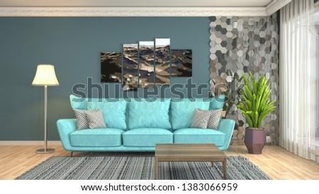 Interior of the living room. 3D illustration #1383066959