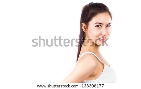 Beautiful young woman looking happy against white background #138308177