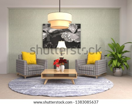 interior with chair. 3d illustration #1383085637