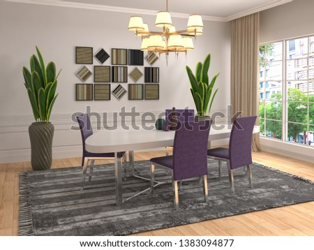 Interior dining area. 3d illustration #1383094877