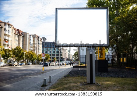 Blank billboard mockup for advertising, City street background #1383150815