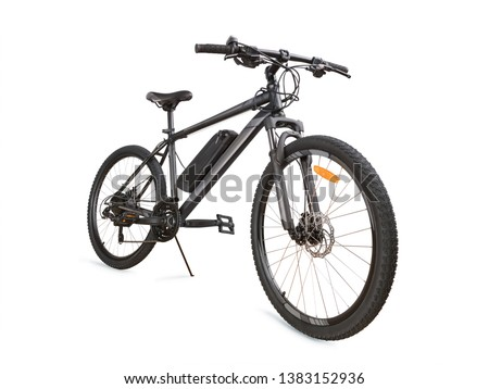 Gray electric bike angle view. Isolated on white, clipping path included #1383152936