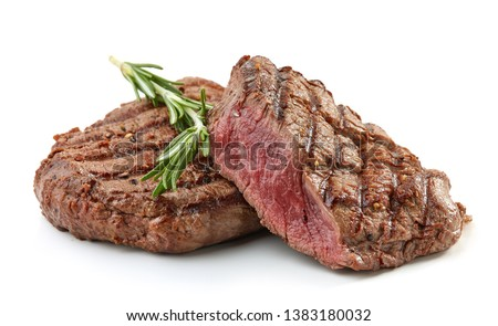 grilled beef fillet steak meat with rosemary isolated on white background #1383180032