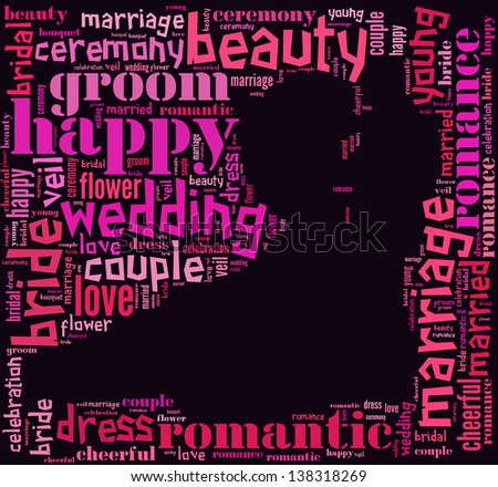 text/word cloud/word collage composed in the shape of a Bride and groom dancing