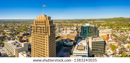 Aerial panorama of Allentown, Pennsylvania skyline on late sunny afternoon. Allentown is Pennsylvania's third most populous city. #1383243035