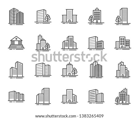 Buildings line icons. Bank, Hotel, Courthouse. City, Real estate, Architecture buildings icons. Hospital, town house, museum. Urban architecture, city skyscraper, downtown. Vector #1383265409