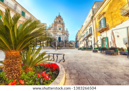 The baroque Saint George cathedral of Modica and Duomo square. Historic center builded in late Baroque Style. Ragusa, Sicily, Italy, Europe. #1383266504