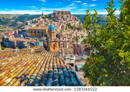 Sunrise  at the old baroque town of Ragusa Ibla in Sicily. Historic center called Ibla builded in late Baroque Style. Ragusa, Sicily, Italy, Europe. #1383266522