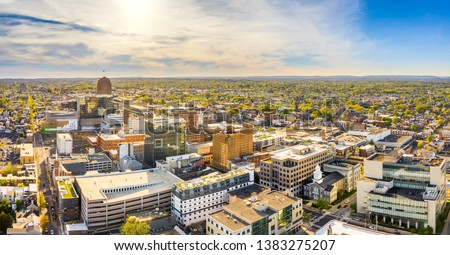 Aerial panorama of Allentown, Pennsylvania skyline on late sunny afternoon. Allentown is Pennsylvania's third most populous city. #1383275207