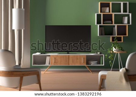 TV screen on the green wall in modern living room. 3d illustration #1383292196