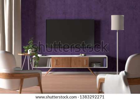TV screen on the purple wall in modern living room. 3d illustration #1383292271