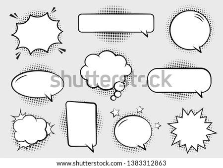 Retro empty comic bubbles and elements set with black halftone shadows. Vector illustration, vintage design, pop art style. #1383312863