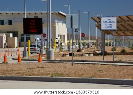 ANTELOPE WELLS, New Mexico - APRIL 25, 2019: The Antelope Wells Border Station is an isolated port of entry along the US-Mexico border, located in a remote part of the Chihuahuan Desert. #1383379310