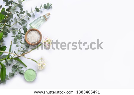 Green spa setting or wellness background with space for text    Royalty-Free Stock Photo #1383405491