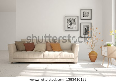 Stylish room in white color with sofa. Scandinavian interior design. 3D illustration #1383410123