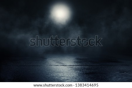 Empty background scene. Reflection of the moon on a wet surface. Rays of blue neon light in the dark. Night view of the street, the city. Abstract dark background. #1383414695