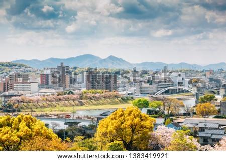 Okayama cityscape from Okayama Castle at spring in Japan #1383419921