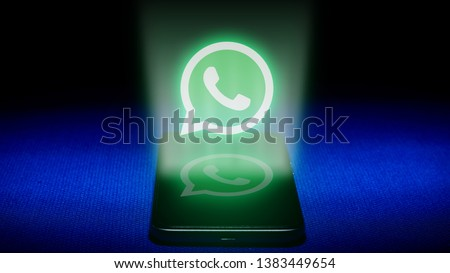 Magelang, Central Java, Indonesia, April 29, 2019.Hologram of whatsapp logo. hologram whatsapp logo image on blue background . The concept of next technology,social media, - Image #1383449654