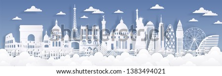 Paper cut landmarks. Travel the world background, skyline advertising card, Paris London Rome buildings silhouettes. Vector cityscape illustration #1383494021