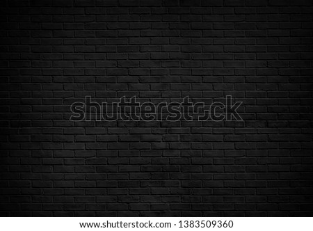Abstract Black brick wall texture for pattern background. wide panorama picture. #1383509360