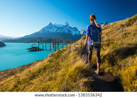 Woman hiker walks on the trail in the Torres del Paine National Park. Chile #1383536342