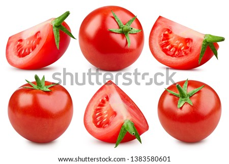 Tomato close up shot. Tomato Collection Clipping Path. Cherry tomato isolated on white background. Professional studio macro shooting #1383580601