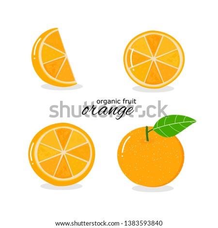 Orange fruit isolated on white background, hand drawn fresh orange and green leaf vector illustration #1383593840