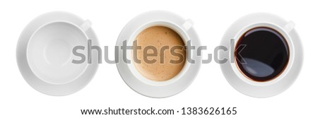 coffee cups top view including empty one set isolated #1383626165