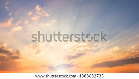 World Environment Day concept: Orange cloudy sky background #1383632735