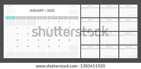 Calendar 2020. Week start Sunday corporate design planner template. Royalty-Free Stock Photo #1383651920