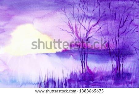 Watercolor illustration of a beautiful summer forest landscape by the lake #1383665675
