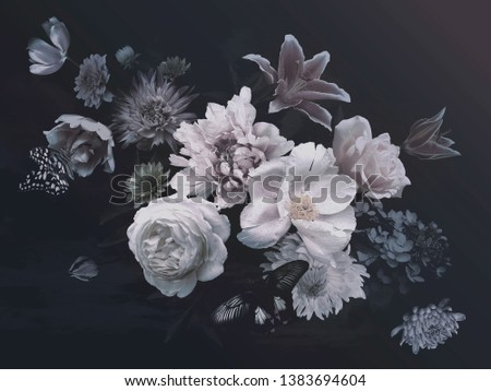 Peonies, hydrangea, lily, asters and tulips in bloom. Vintage bouquet of beautiful garden flowers and butterflies on black. Floristic decoration. Floral background. Baroque style. #1383694604