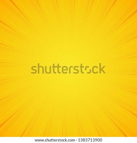 Pop art background. Pattern yellow colored. Comic sunbeam background. Vector illustration. EPS 10