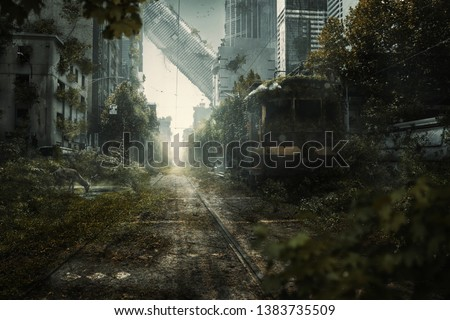 Apocalyptic city scene with lost skyscrapers Royalty-Free Stock Photo #1383735509