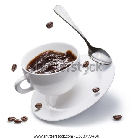 Coffee cup, coffee beans and spoon flying over a white plate isolated on white background. #1383799430