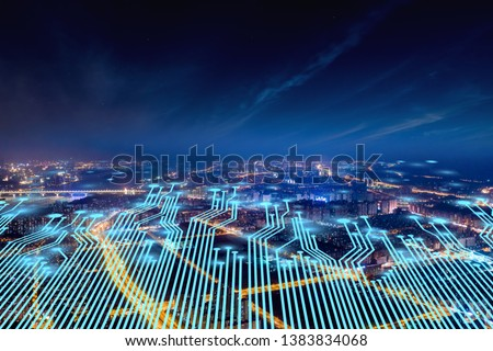 Modern city with wireless network connection concept #1383834068